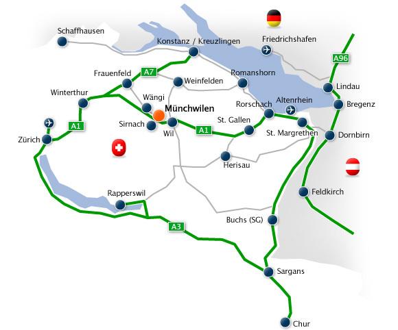 Zufahrtsplan nach Münchwilen: Münchwilen liegt im Kanton Thurgau, zwischen Frauenfeld und Wil (Kanton St. Gallen) direkt an der Autobahn A1.
